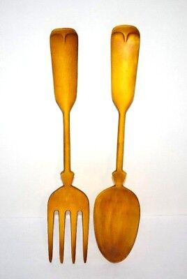 Vintage Yellow Cast Aluminum Large Kitchen Dining Wall Decoration Fork And Spoon
