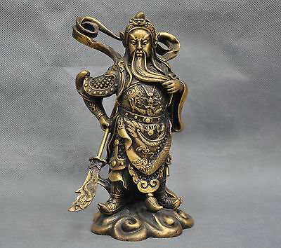 8'' China Dragon Sword Warrior Guan Gong Yu Bronze Statue