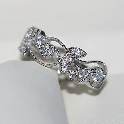 Fashion Women 925 Silver White Topaz Leaves Wedding Engagement Band Ring Sz 6-10