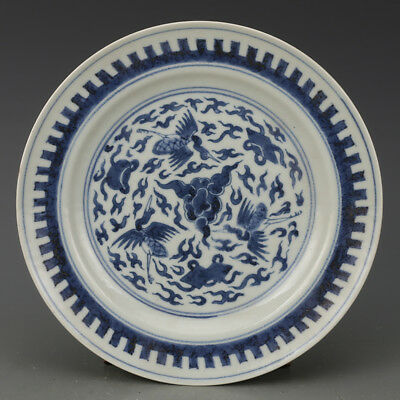 China antique Porcelain qing blue & white hand made Cloud crane pattern plate