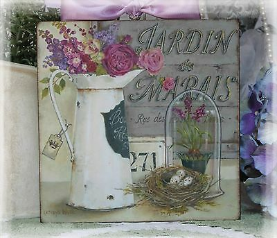 """~ """"JARDIN..."""" Shabby Chic Vintage Country Cottage style ~ Wall Decor Sign ~"""