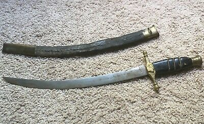 1800's ANTIQUE Old Steel Hand Forged Beautiful Brass Hilt Sword & LEATHER SHEATH