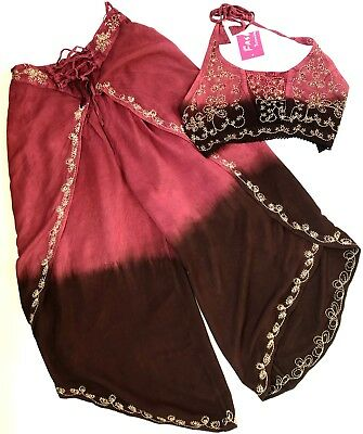 Fashion Terminal India Free Size Gypsy Boho Halter Top & Harem Pants Embroidered