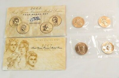 2007 US Mint First Spouse Bronze Medal Set of 4 W/COA in Envelope