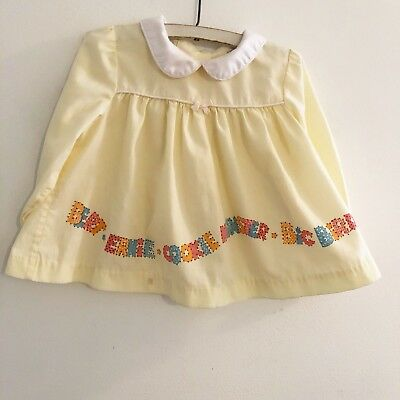 Vintage Sesame Street Top Dress Toddletime JCPenney Yellow Toddler Girl Size 3T