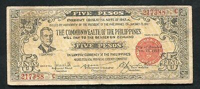 Philippines 10 Pesos 1942 P-S131 Emergency Note Circulated