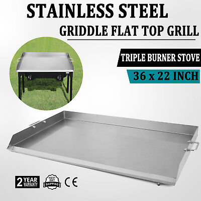 "HEAVY 36"" x 32"" Stainless Steel Flat Top Double Griddle Grill Local"