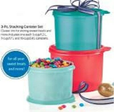 Tupperware Stacking Canisters 3pc Set - 5, 7, 10 Cups Great Colors and Storage