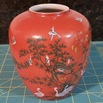 Vintage Andrea By Sadek Vase Red With Birds And Foliage 5829 Made
