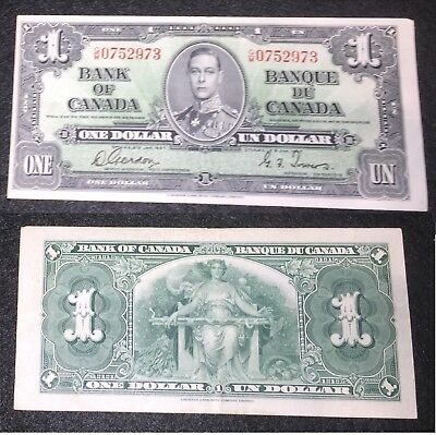 1937 Bank of Canada One Dollar - Gordon - Towers.  Very Good Condition