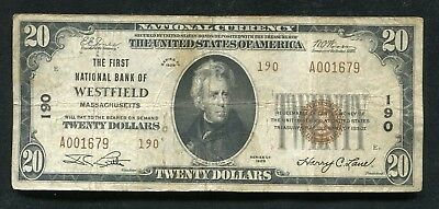 1929 $20 Tyii The 1St National Bank Of Westfield, Ma National Currency Ch. #190