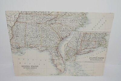 Double Page Antique Map United States Of North America South Eastern Sheet