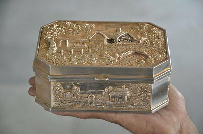 Vintage Unique Golden Color Scenery Embossed Handcrafted Antimony Jewellery Box