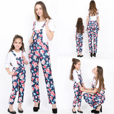 Mother Daughter Women Kids Girl Floral Print Strap Jeans Romper Playsuit Clothes