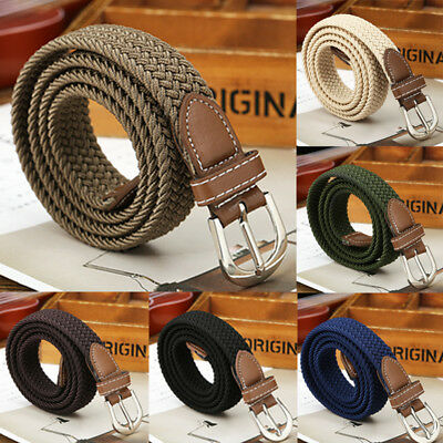 US Mens Stretch Braided Elastic Woven Canvas Buckle Belt Waistband Waist Straps