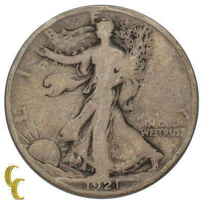 1921-D Silver Walking Liberty Half Dollar 50C (Good, G Condition)