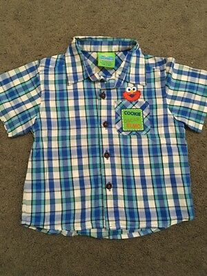 Baby Boys Short Sleeved Blue Elmo Button Up Shirt Size 1 EUC