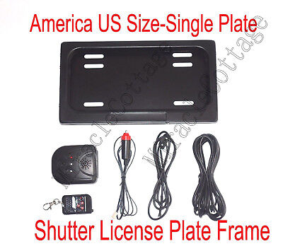 USA Remote Control Metal Stealth Hidden License Plate Frame,Plate Holder,Curtain