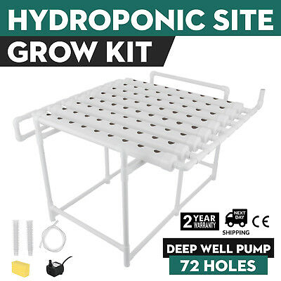 Hydroponic Grow Kit 72 Sites 8 Pipes Planting Sponge Garden Plant Garden System