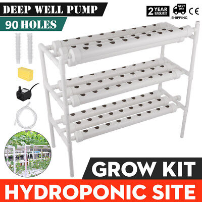 Hydroponic Grow Kit 90 Sites 10 Pipes Garden System Melons Planting Sponge