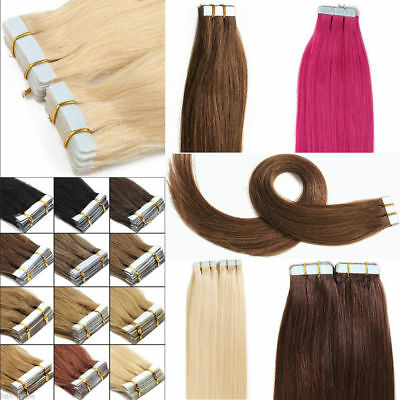 8A 40-66Cm Extensions De Cheveux Pu Tape In 20 Bande Adhesive Naturels