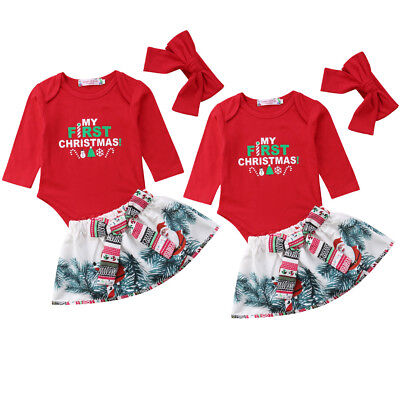 USA STOCK Newborn Baby Infant Girl My 1st Christmas Romper Dress Outfit Clothes