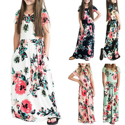 Baby Kid Girls Floral Maxi Beach Holiday Long Dress with Pocket Party Sundress