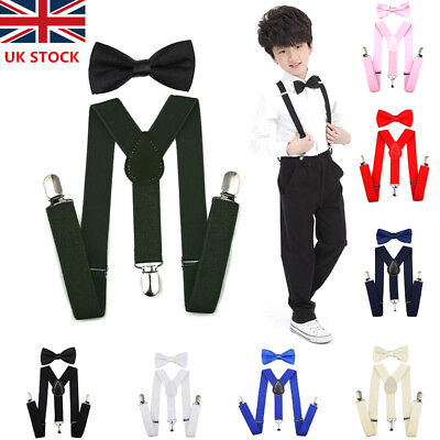 Matching Braces Suspenders and Bow Tie Set For Kids Children Boys Girls Wedding