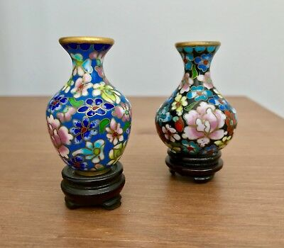2 Beautiful Vintage PAIR Chinese Cloisonné Enamel Vases