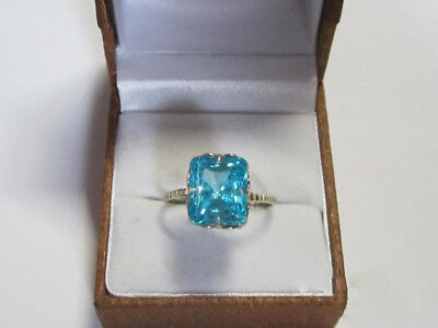 GORGEOUS Vintage USSR Ring with BLUE Stone Silver 875 Soviet Antique Size 9.5