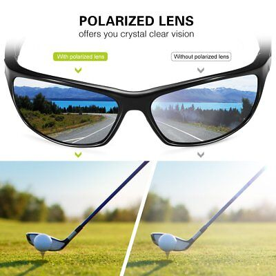 Polarized Sports Sunglasses with TR90 Unbreakable Frame for Ski Driving Golf Run
