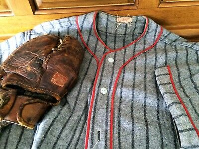 Vintage 1940's Unique Prod. Co. Baseball Uniform & Spalding First Base Glove