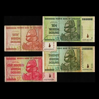 10 Trillion Dollars 20 50 Billion 100 Million Zimbabwe Banknote Currency AA 2008