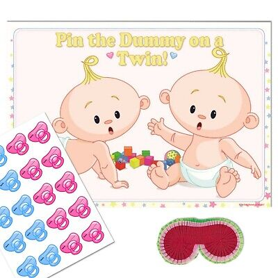 TWIN BABY SHOWER GAME - Pin the Dummy Pacifier Blindfold Unisex Neutral 10 - 40