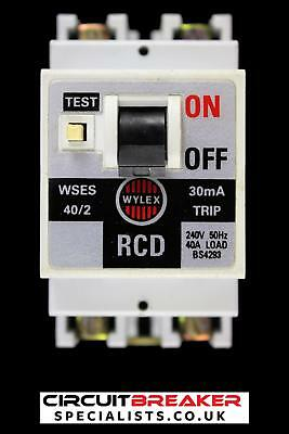 WYLEX 40 AMP 30mA DOUBLE POLE RCD WSES 40/2