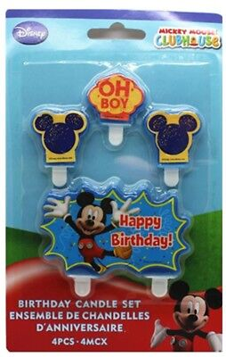 4 Piece Mickey Mouse Cake Candle Set Birthday Party Supplier Decoration