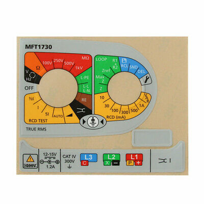 Megger Multifunction Tester spare / replacement label set for MFT1730 1002-726