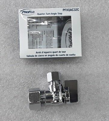 "Proflo PFXQAC32C Low Lead 5/8"" X 3/8"" Compression Quarter Turn Angle Stop"