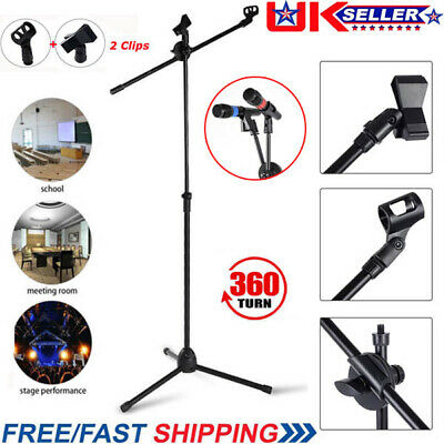 Professional Boom Microphone Mic Stand Holder Adjustable With 2 Free Clips UKGT