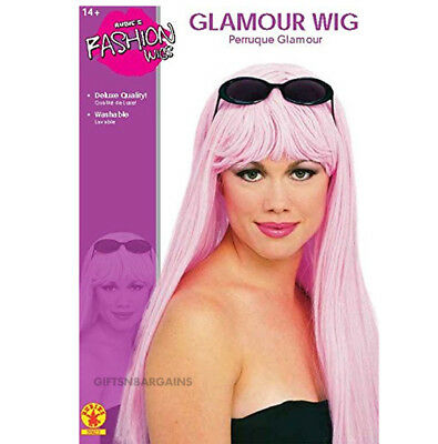 Pink Long Hair Costume Wig 80s Cotton Candy Girl Barbie Glam Fairy Women Adult