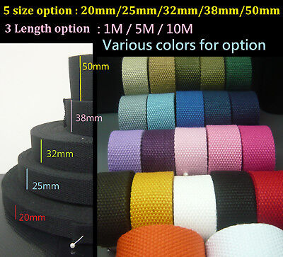 width 20 25 32 38 50mm Spun Polyester Webbing -DIY Cotton Canvas Bag Strap Craft
