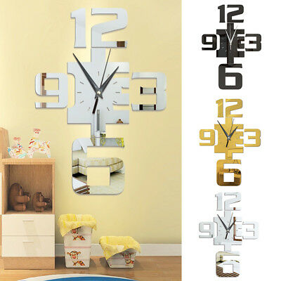 UK_ LC_ DIY 3D Mirror Surface Large Number Wall Clock Sticker Modern Home Decor