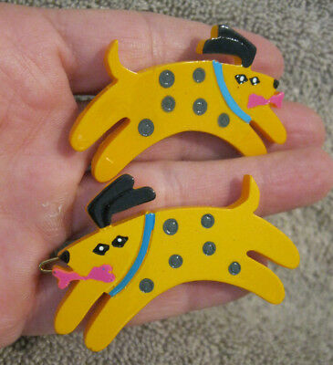 Vtg New 2 Dog Barrette With Metal Hair Clasp Set Lucite Women Girls Cute! 80's