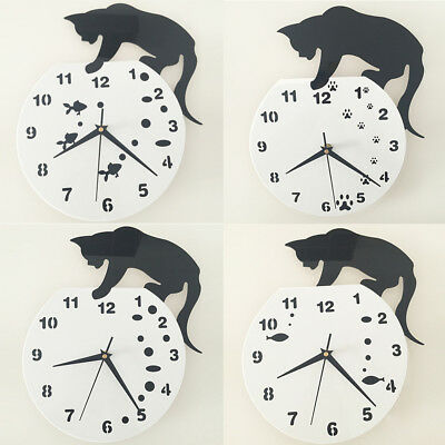 Uk_ Hot Modren Creative Personality Simple Acrylic Black Cat Mute Wall Clock Str