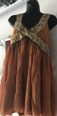 Ancient Greek Gold Beaded Goddess Beauty Halloween Costume Size Large