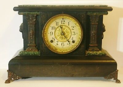 Antique Victorian Circa 1880 Seth Thomas Adamantine Ornate Mantle Clock