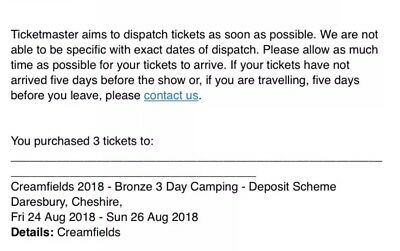 Creamfeilds bronze 3 day camping ticket,25th-27th 2017.