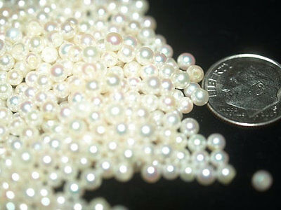 Akoya round PAIR of 2.5 - 3mm genuine Natural Cultured half drilled pearls AAA
