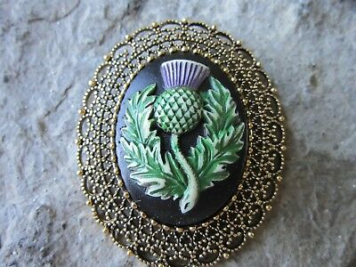 2 In 1 - Hand Painted Scottish Thistle Cameo Gold Brooch / Pin / Pendant -Celtic