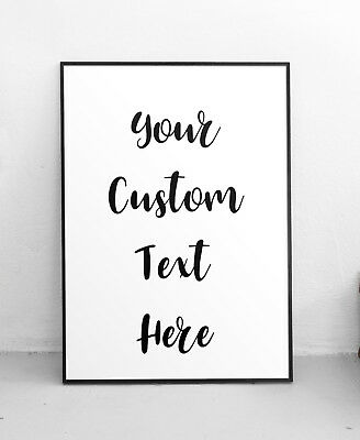 Personalised Handwriting Typography Quote Print Custom Text Design Decor Poster